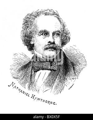 Image d'Archive historique des figures littéraires. C'est Nathaniel Hawthorne.