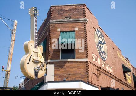 Sun record studios Memphis Tennessee où Elvis Presley a enregistré une grande partie de ses premiers travaux Banque D'Images