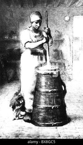 Ménage, travaux ménagers, churning, 'Making beurre', gravure par Jean-François Millet, 1855/1856, , droits additionnels-Clearences-non disponible Banque D'Images