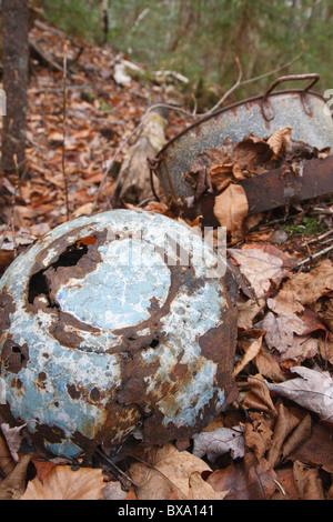 Swift River Railroad - Artefacts Hartleys Camps qui était un camp de bûcherons situé dans la vallée de Oliverian Banque D'Images
