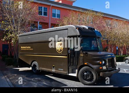 Camion de livraison UPS, Celebration, Floride, USA Banque D'Images