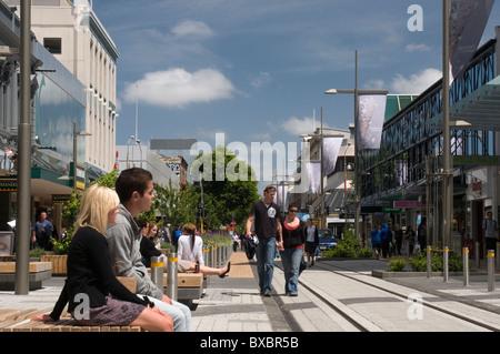 Cashel Street Mall à Christchurch, Nouvelle-Zélande. Le centre-ville a été gravement endommagé dans le séisme du 22 février 2011. Banque D'Images