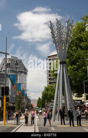 High Street Mall à Christchurch, Nouvelle-Zélande. Le centre-ville a été gravement endommagé dans le séisme du 22 février 2011. Banque D'Images