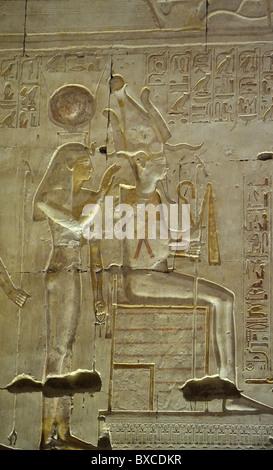Isis et Osiris, Ramses II's cut relief, Temple de Seti I, Abydos, Egypte 081115 32291  Banque D'Images