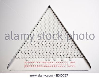 Close up de pilules dans le bac de tri Banque D'Images