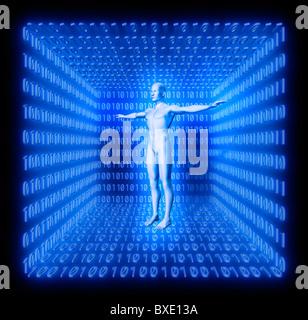 L'homme en bleu prix en code binaire. Concept de digital world, monde futur, avatar, l'artificialité etc. Banque D'Images