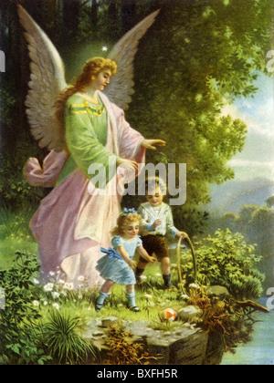 La religion, le christianisme, l'ange gardien, de la protection des enfants, de l'Allemagne, vers 1905, Additional Banque D'Images