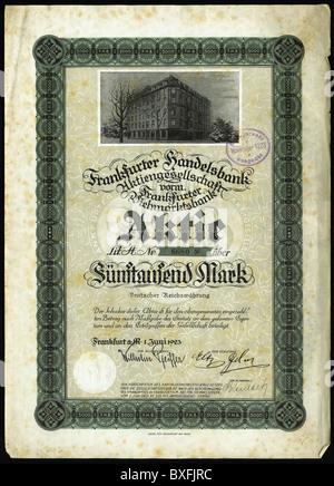 Monnaie / finance, actions, stock vers 5000 Mark, Francfort-sur-le-main, Allemagne, 1.6.1923, historique, historique, Banque D'Images