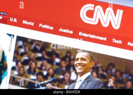 Page d'accueil de CNN avec une photo du président Barack Obama