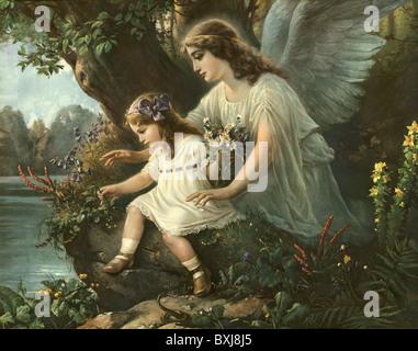 La religion, le christianisme, l'ange gardien à la protection des enfants, de l'Allemagne, vers 1905, Additional Banque D'Images