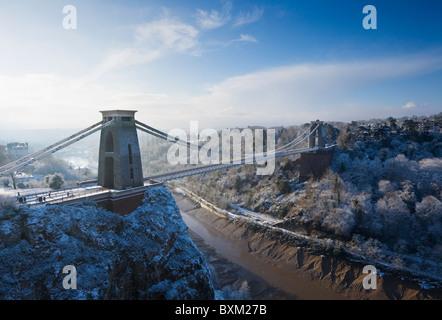 Pont suspendu de Clifton, l'hiver. Bristol. L'Angleterre. UK.