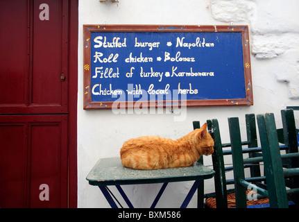 Le gingembre cat dormir sur l'une des tables d'une petite taverne's terrasse en plein air dans le village de Chora, Banque D'Images
