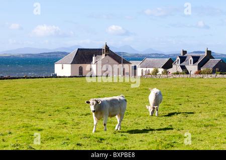 A'Chleit, au nord d'Muasdale sur la péninsule de Kintyre, ARGYLL & BUTE, Ecosse. Gigha et Jura sont visibles en Banque D'Images