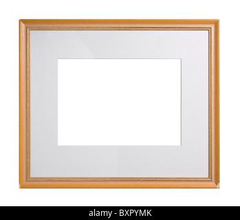 Cadre photo en bois avec passe-partout, isolated on white Banque D'Images