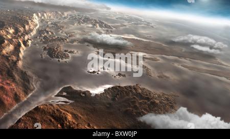 Une région inondée Aram Chaos sur la planète Mars. Banque D'Images