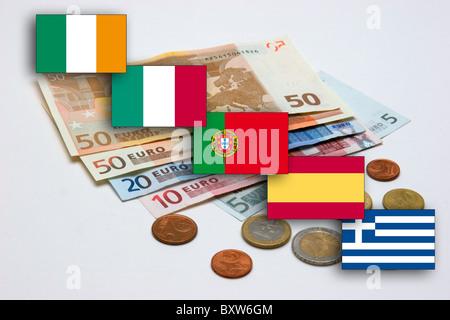 Service de crise de l'effondrement de l'attendu EUR symbole monétaire de l'unique photo de la mort de l'Euro Banque D'Images