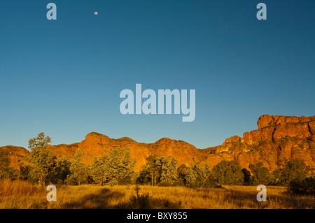 Coucher du soleil dans le Bungle Bungles, le Parc National de Purnululu, Kimberley, Australie occidentale Banque D'Images