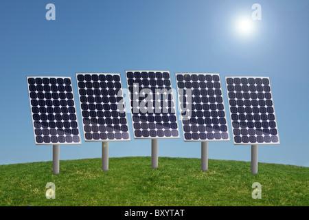 Rangée de panneaux solaires dans l'herbe avec ciel bleu et soleil Banque D'Images