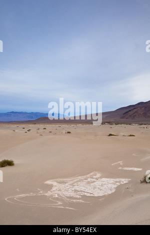 La boue séchée fissures dans l'ancien lit du lac du mesquite Flat Sand Dunes in Death Valley National Park, California, Banque D'Images