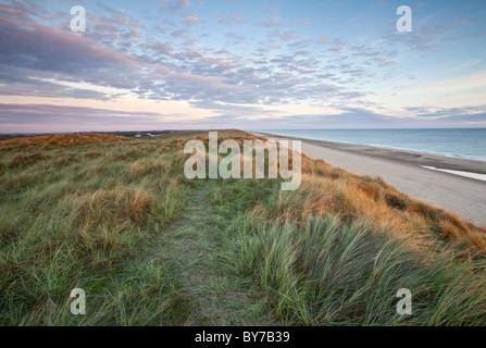 Dunes de sable sur la plage à Horsey prise à la première lumière sur la côte de Norfolk Banque D'Images