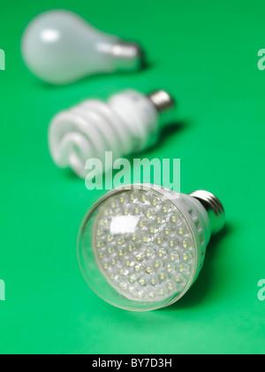 Ampoule LED ampoules incandescentes et fluorescentes avec en arrière-plan, représentant trois générations d'ampoules Banque D'Images