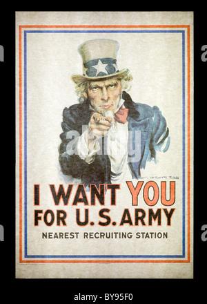 J.M. Flagg's 1917 - L'affiche de l'Oncle Sam 'Je veux que vous pour l'armée américaine' poster - usa Banque D'Images