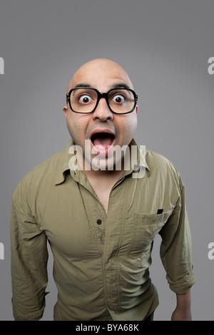 Homme chauve surpris Banque D'Images