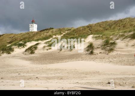 Phare de dunes de sable, Mer du Nord, Danemark, Europe, Blavand