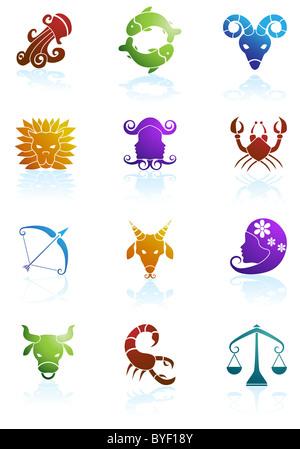 Une image des 12 symboles du zodiaque. Banque D'Images