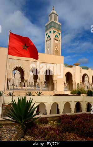 Drapeau marocain et les jardins à la Mosquée Hassan II à Casablanca Maroc Banque D'Images
