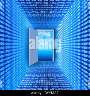 Hall a fait d'un code binaire conduit à ouvrir la porte et cloudscape. Image conceptuelle: la réalité virtuelle. Banque D'Images