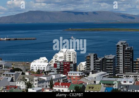 Avis de Reykjavik de la tour de l'église Hallgrímskirkja, Islande, Europe Banque D'Images
