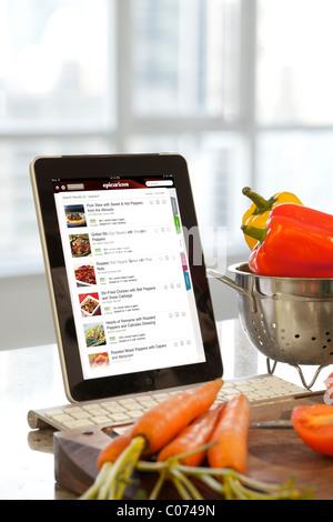 Cuisine Epicurious iPad écran d'application utilisé dans la cuisine Banque D'Images