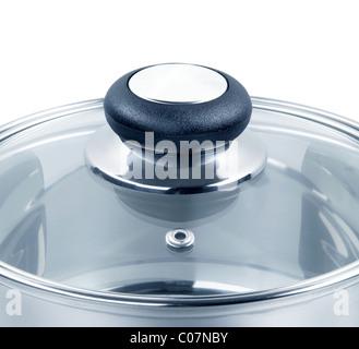 Couvercle en verre sur une casserole Banque D'Images