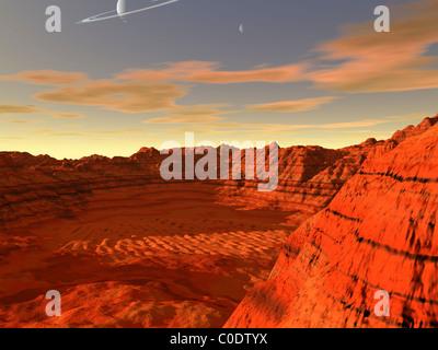 Concept de l'artiste d'une planète terre-like. Banque D'Images