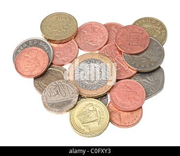 Sélection de pièces de monnaie britanniques contemporains utilisés, isolated on white Banque D'Images