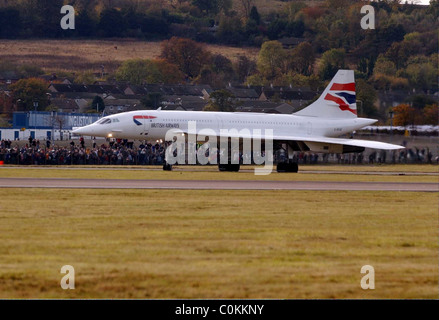 Photo Brittish Airways Concorde - l'arrivée à l'aéroport d'Édimbourg Tournhouse. Banque D'Images