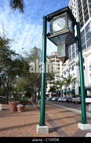 Centre-ville de Sarasota un dimanche Banque D'Images