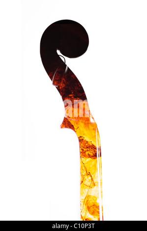 Vue latérale du cou, faites défiler et pegbox d'un violon traditionnel en bois avec des textures de couleur liquide Banque D'Images