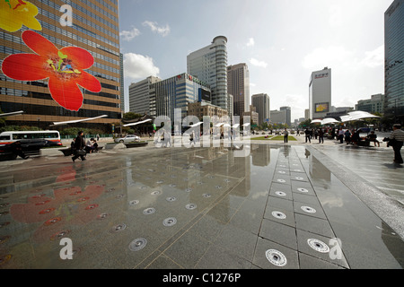 Au centre-ville de Plaza Gwanghwamun Seoul, Corée du Sud, Asie Banque D'Images