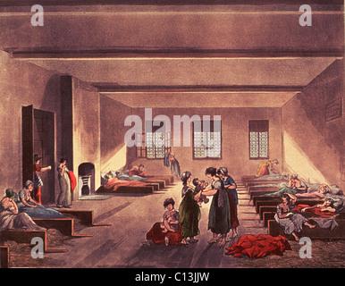 Salle de détention dans le quartier londonien de Bridewell Hospital, pour les sans-abri, appauvrie, et probablement Banque D'Images