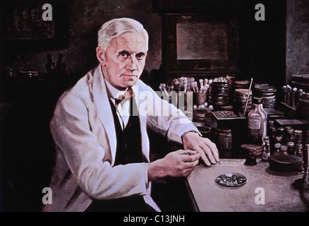 Alexander Fleming (1881-1955), à la table de laboratoire. Peinture de Dean Forbes. Banque D'Images