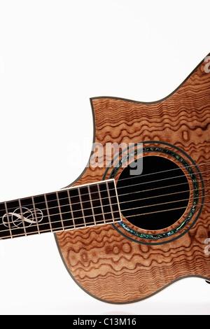 Vue rapprochée de la guitare acoustique Banque D'Images