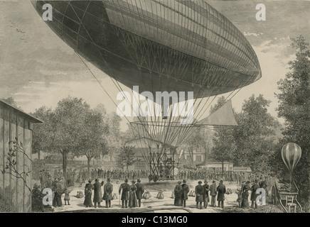 Dirigeable propulsé par un moteur électrique développé par Albert et Gaston Tissandier au départ d'Auteuil Paris France le 8 octobre 1883. Il a été le premier vol motorisé électrique. LC-DIG-ppmsca-02461