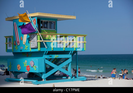 Lifeguard Watch Tower, Miami Beach, Floride, USA, Amérique du Nord Banque D'Images
