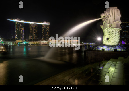Singapore City Skyline at Merlion Park at Night 2