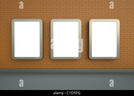Trois bannières mur Banque D'Images