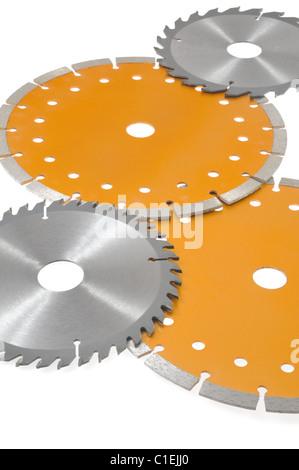 Collection de lames de scie circulaire isolated on white Banque D'Images