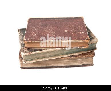Vieux livres avec l'usure et isolé sur fond blanc Banque D'Images