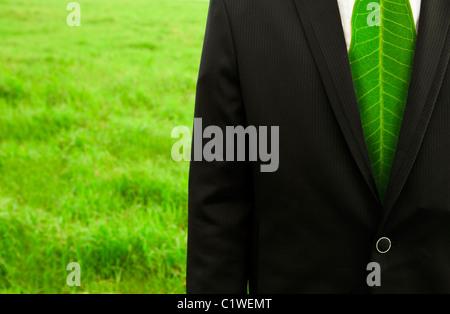 Businessman with Green leaf tie sur la pelouse Banque D'Images
